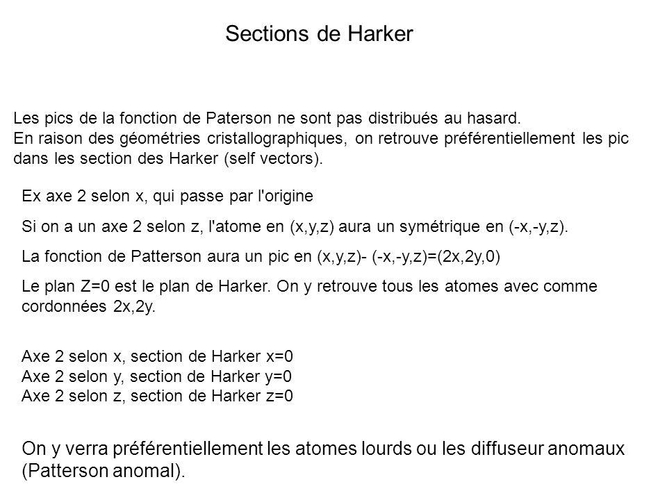 Sections de Harker Les pics de la fonction de Paterson ne sont pas distribués au hasard. En raison des géométries cristallographiques, on retrouve pré