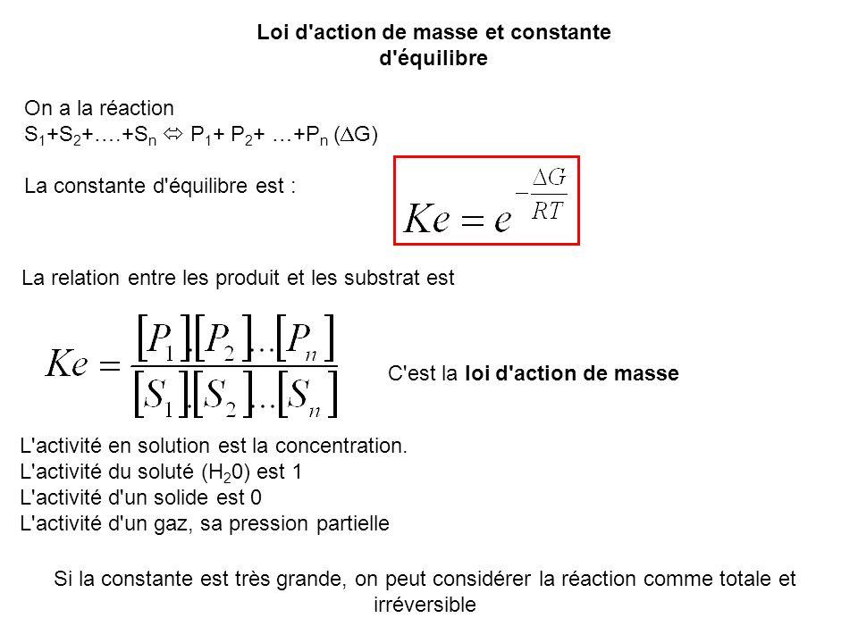 Loi d'action de masse et constante d'équilibre On a la réaction S 1 +S 2 +….+S n P 1 + P 2 + …+P n ( G) La constante d'équilibre est : La relation ent