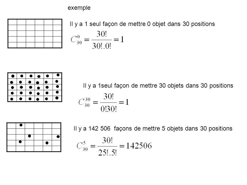 Il y a 1 seul façon de mettre 0 objet dans 30 positions Il y a 142 506 façons de mettre 5 objets dans 30 positions Il y a 1seul façon de mettre 30 obj