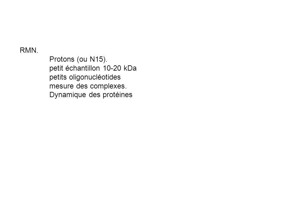 RMN. Protons (ou N15). petit échantillon 10-20 kDa petits oligonucléotides mesure des complexes. Dynamique des protéines