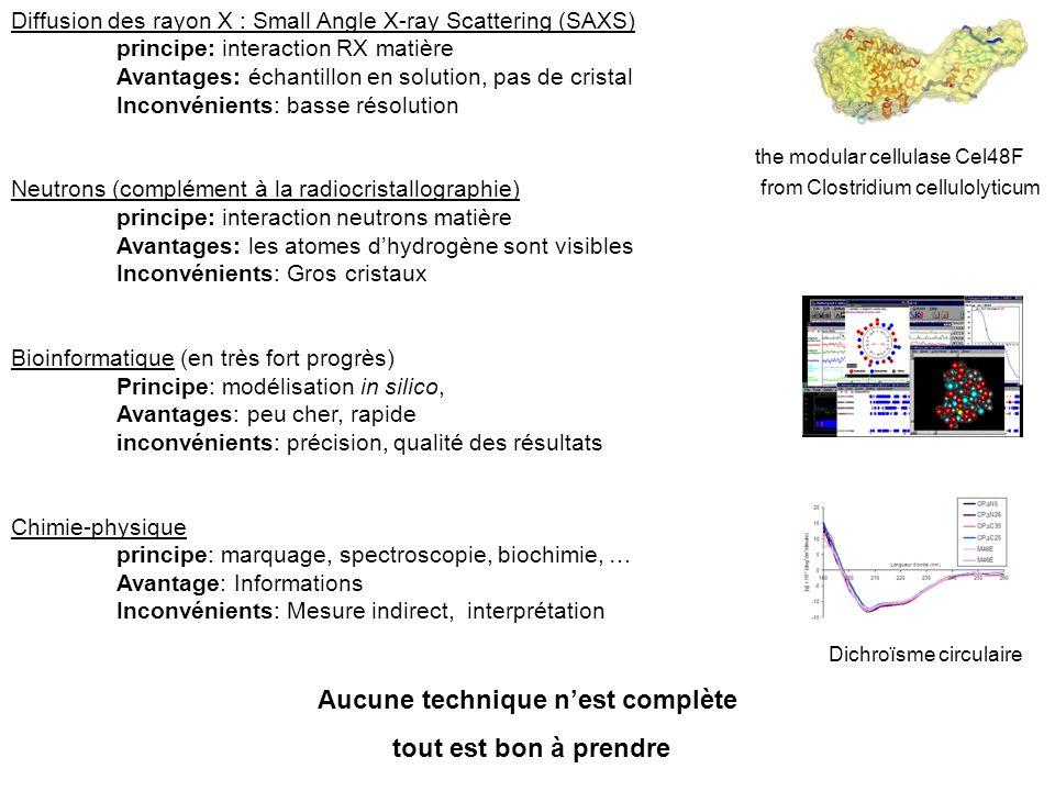 Diffusion des rayon X : Small Angle X-ray Scattering (SAXS) principe: interaction RX matière Avantages: échantillon en solution, pas de cristal Inconv
