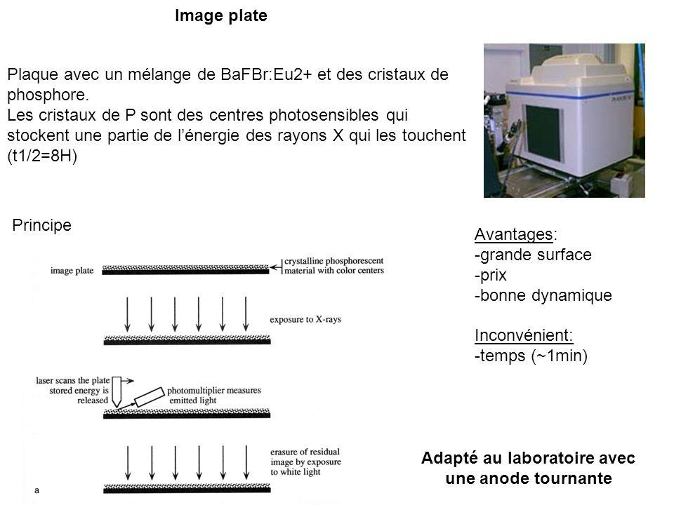 Image plate Plaque avec un mélange de BaFBr:Eu2+ et des cristaux de phosphore. Les cristaux de P sont des centres photosensibles qui stockent une part