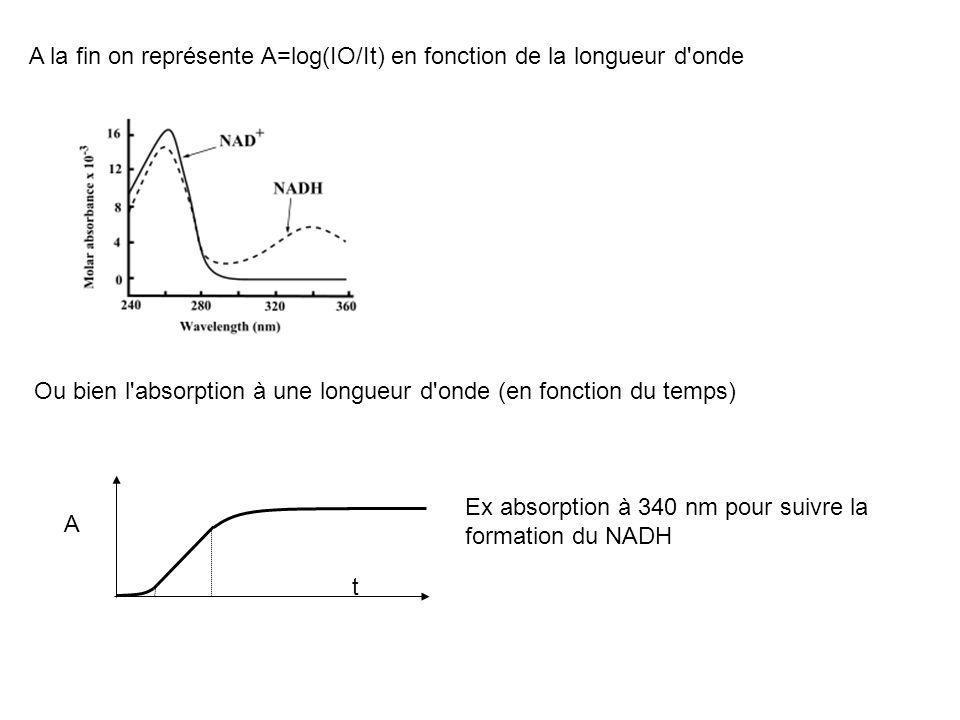 A la fin on représente A=log(IO/It) en fonction de la longueur d'onde Ou bien l'absorption à une longueur d'onde (en fonction du temps) Ex absorption