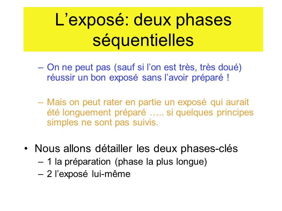 Lexposé: deux phases séquentielles 1- la préparation (phase la plus longue) 2- lexposé lui-même