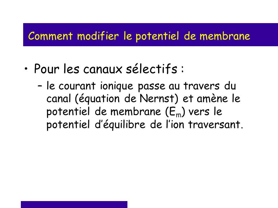 Comment modifier le potentiel de membrane Pour les canaux sélectifs : –le courant ionique passe au travers du canal (équation de Nernst) et amène le p
