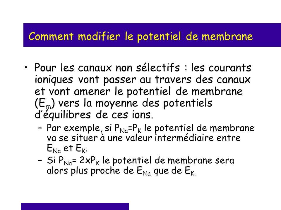 Comment modifier le potentiel de membrane Pour les canaux non sélectifs : les courants ioniques vont passer au travers des canaux et vont amener le po