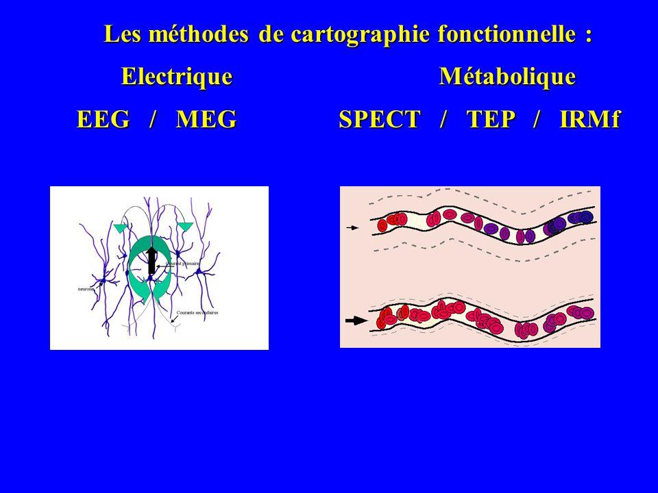 Les méthodes de cartographie fonctionnelle : Electrique Métabolique EEG / MEG SPECT / TEP / IRMf