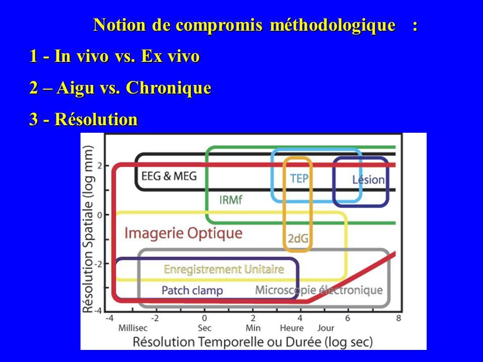 Notion de compromis méthodologique : 1 - In vivo vs. Ex vivo 2 – Aigu vs. Chronique 3 - Résolution