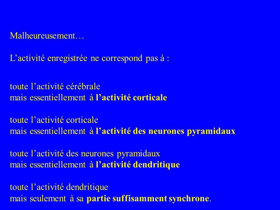 Malheureusement… Lactivité enregistrée ne correspond pas à : toute lactivité cérébrale mais essentiellement à lactivité corticale toute lactivité cort