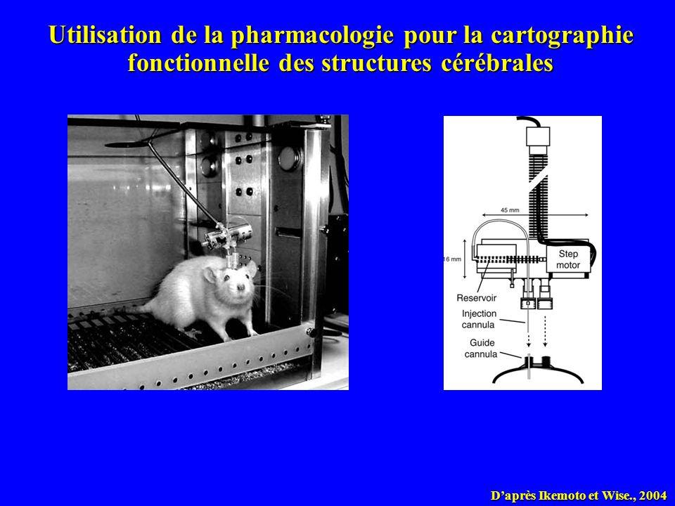 Daprès Ikemoto et Wise., 2004 Utilisation de la pharmacologie pour la cartographie fonctionnelle des structures cérébrales