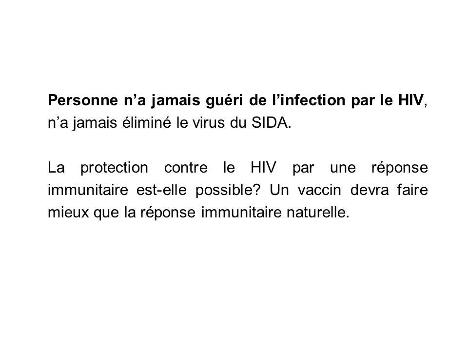 Personne na jamais guéri de linfection par le HIV, na jamais éliminé le virus du SIDA. La protection contre le HIV par une réponse immunitaire est-ell