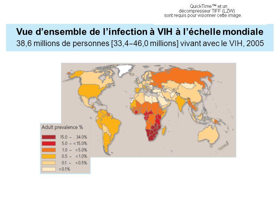 Vue densemble de linfection à VIH à léchelle mondiale 38,6 millions de personnes [33,4 46,0 millions] vivant avec le VIH, 2005