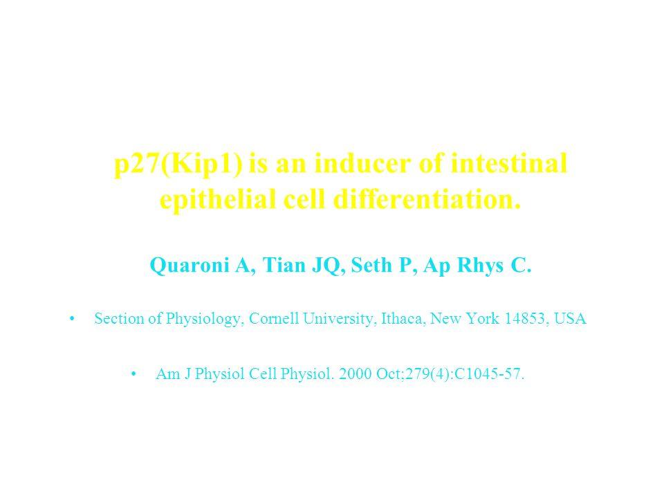 Rôle important de la Matrice extracellulaire dans la différenciation intestinale. Mais elle nest certainement pas le seul stimulus de différenciation