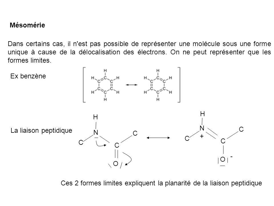 Mésomérie Dans certains cas, il n'est pas possible de représenter une molécule sous une forme unique à cause de la délocalisation des électrons. On ne