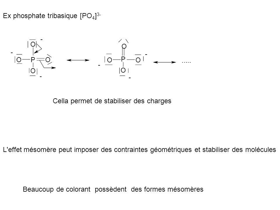 Ex phosphate tribasique [PO 4 ] 3- Cella permet de stabiliser des charges L'effet mésomère peut imposer des contraintes géométriques et stabiliser des