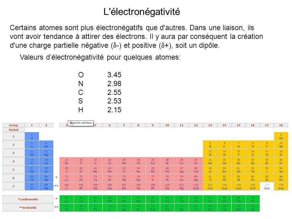 L'électronégativité Certains atomes sont plus électronégatifs que d'autres. Dans une liaison, ils vont avoir tendance à attirer des électrons. Il y au