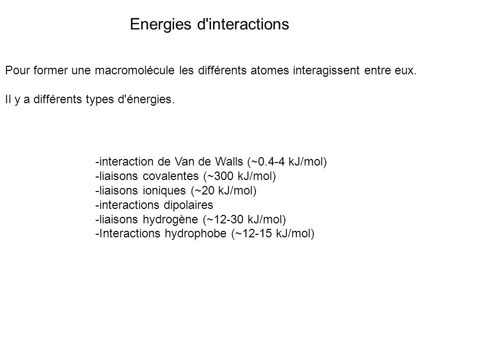 Pour former une macromolécule les différents atomes interagissent entre eux. Il y a différents types d'énergies. Energies d'interactions -interaction