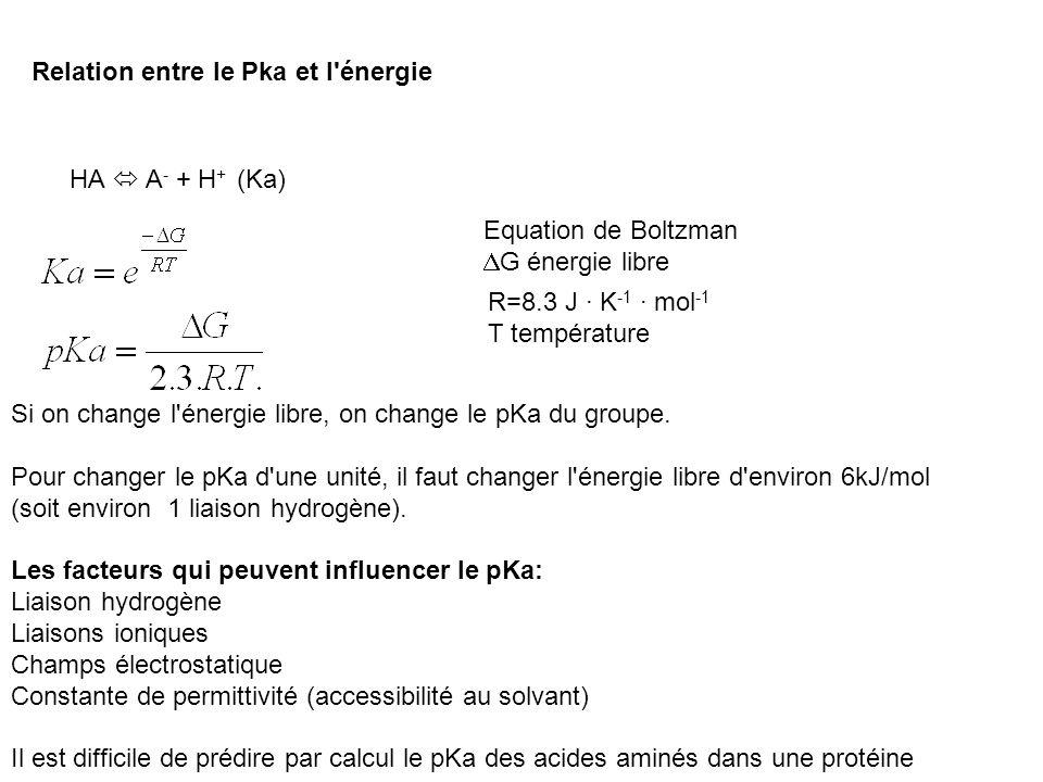Relation entre le Pka et l'énergie HA A - + H + (Ka) R=8.3 J · K -1 · mol -1 T température Equation de Boltzman G énergie libre Si on change l'énergie