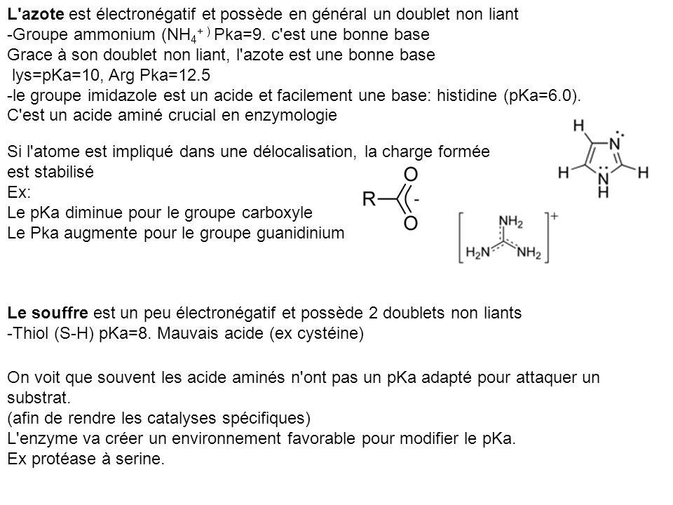 Le souffre est un peu électronégatif et possède 2 doublets non liants -Thiol (S-H) pKa=8. Mauvais acide (ex cystéine) L'azote est électronégatif et po