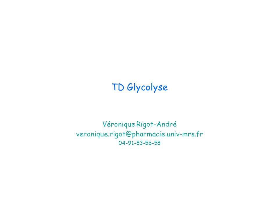 TD Glycolyse Véronique Rigot-André veronique.rigot@pharmacie.univ-mrs.fr 04-91-83-56-58
