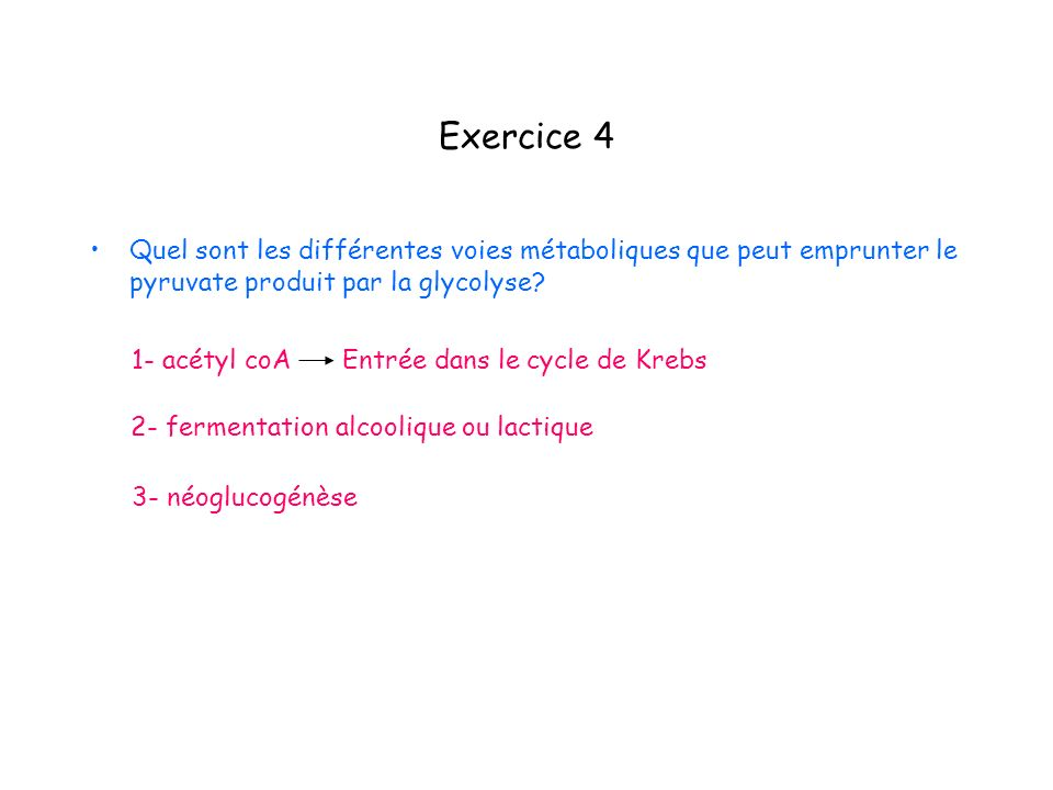 Exercice 4 Quel sont les différentes voies métaboliques que peut emprunter le pyruvate produit par la glycolyse? 2- fermentation alcoolique ou lactiqu