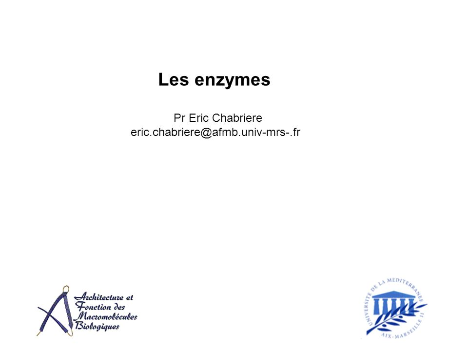 Les enzymes Pr Eric Chabriere eric.chabriere@afmb.univ-mrs-.fr