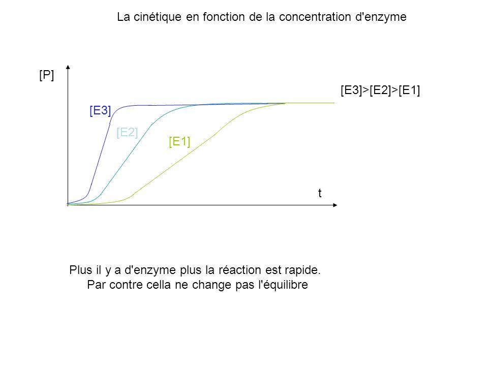 La cinétique en fonction de la concentration d'enzyme [P] t [E1] [E2] [E3] Plus il y a d'enzyme plus la réaction est rapide. Par contre cella ne chang