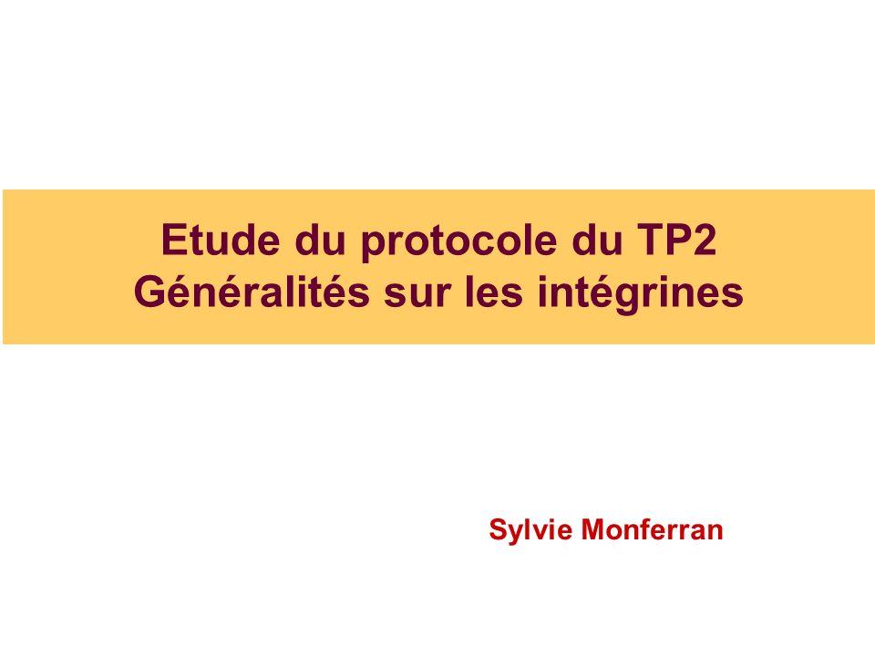 Etude du protocole du TP2 Généralités sur les intégrines Sylvie Monferran