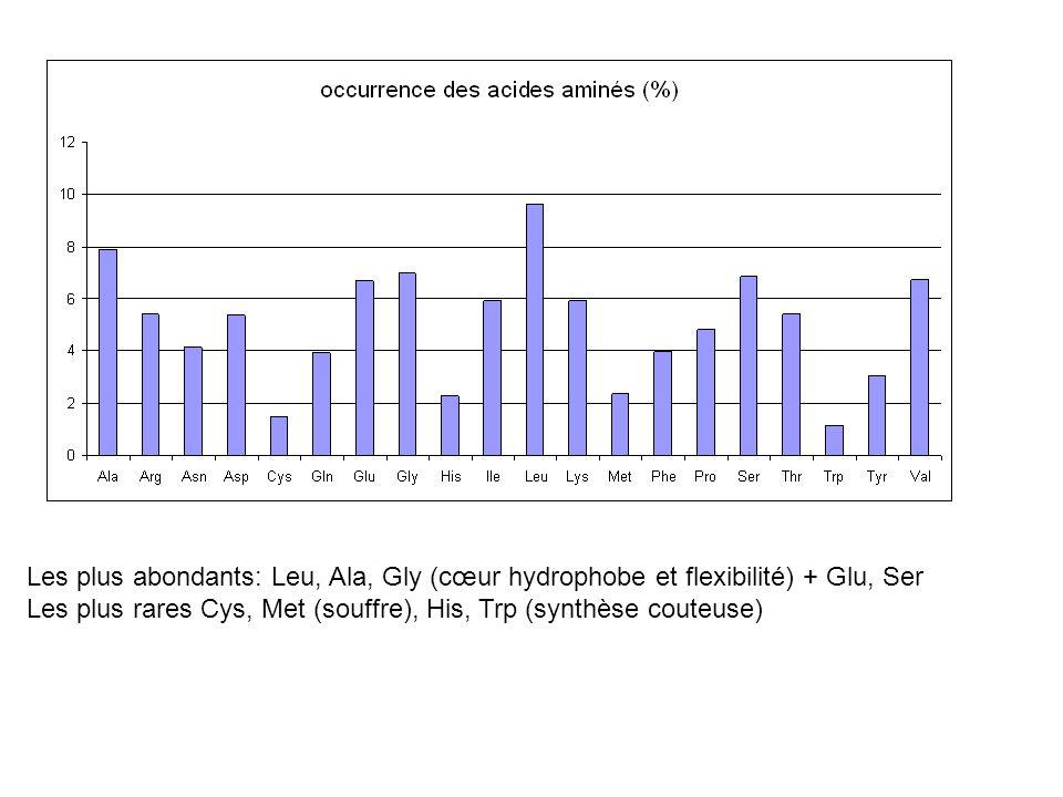 Les plus abondants: Leu, Ala, Gly (cœur hydrophobe et flexibilité) + Glu, Ser Les plus rares Cys, Met (souffre), His, Trp (synthèse couteuse)