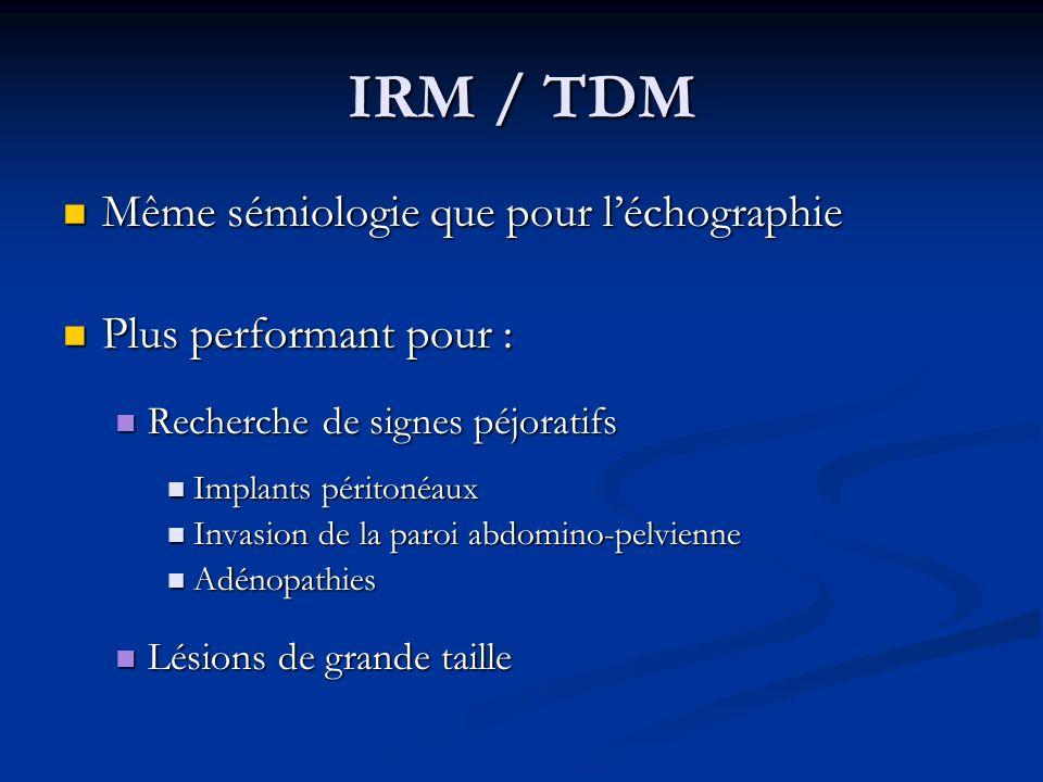 IRM / TDM Même sémiologie que pour léchographie Même sémiologie que pour léchographie Plus performant pour : Plus performant pour : Recherche de signe