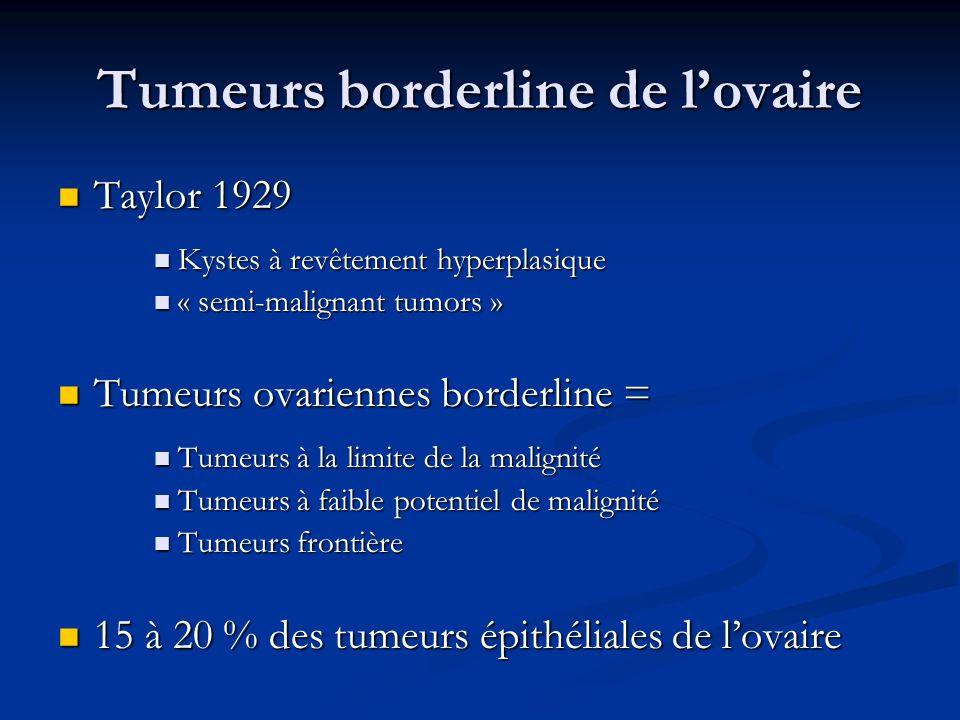 Stadification Complète si comprend : Complète si comprend : Cytologie péritonéale directe ou indirecte Cytologie péritonéale directe ou indirecte Biopsies péritonéales pelviennes et abdominales Biopsies péritonéales pelviennes et abdominales Aléatoires Aléatoires péritoine vésico-utérin, Douglas, gouttières pariéto-coliques, couploles diaphragmatiques Dirigées Dirigées Omentectomie infracolique Omentectomie infracolique Appendicectomie (tumeur mucineuse) Appendicectomie (tumeur mucineuse) Stade : élément pronostic le plus important Stade : élément pronostic le plus important Récurrence des stade I en fonction de la stadification initiale Récurrence des stade I en fonction de la stadification initiale Taux de stadification initiale complète faible : 12 à 29 % des cas Taux de stadification initiale complète faible : 12 à 29 % des cas FIGO StadificationComplèteIncomplète Taux de récurrence 1,7 % 9,9 % JD Seidman et al., Hum Pathol, 2000