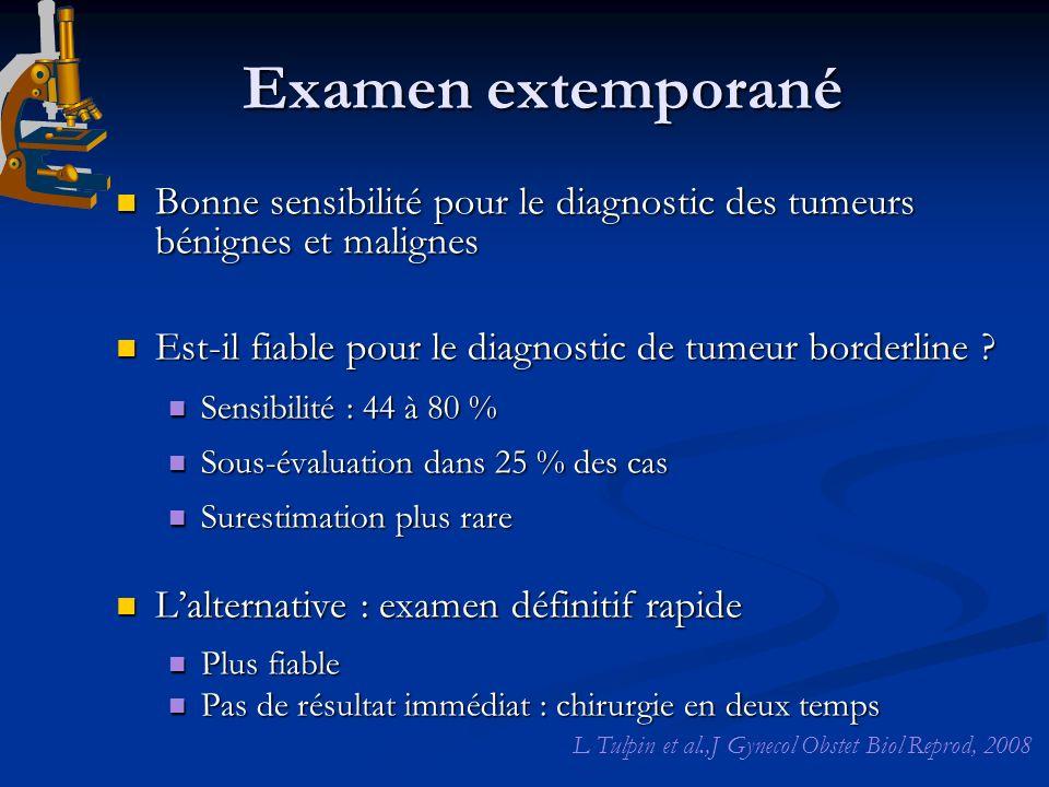 Examen extemporané Bonne sensibilité pour le diagnostic des tumeurs bénignes et malignes Bonne sensibilité pour le diagnostic des tumeurs bénignes et