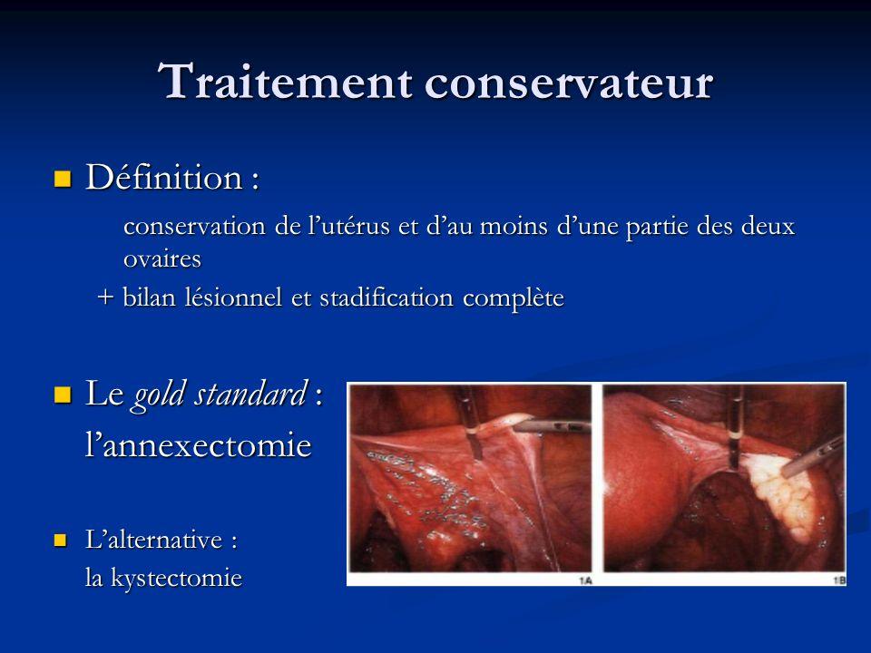 Traitement conservateur Définition : Définition : conservation de lutérus et dau moins dune partie des deux ovaires + bilan lésionnel et stadification