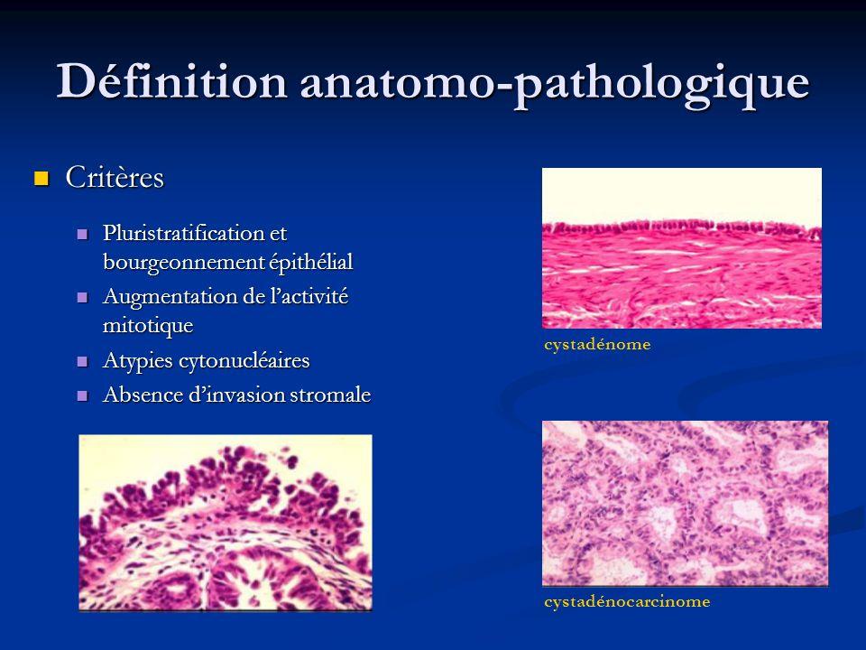 Tumeurs séreuses 55 % Tumeurs séreuses 55 % 28 à 50 % bilatérales 28 à 50 % bilatérales 30 % implants péritonéaux 30 % implants péritonéaux Tumeurs séreuses borderline micropapillaires Tumeurs séreuses borderline micropapillaires Plus agressives, souvent bilatérales, stade avancé Plus agressives, souvent bilatérales, stade avancé Augmentation de la fréquence des implants de type invasif et des végétations exophytiques Augmentation de la fréquence des implants de type invasif et des végétations exophytiques Tumeurs mucineuses 40 % Tumeurs mucineuses 40 % Type intestinal ou entéroïde Type intestinal ou entéroïde Tumeur unilatérale, de grande taille, multiloculaire, sans végétation Tumeur unilatérale, de grande taille, multiloculaire, sans végétation Stade avancé: ++ association à un pseudomyxome péritonéal Stade avancé: ++ association à un pseudomyxome péritonéal Type endocervical ou müllerien Type endocervical ou müllerien Souvent bilatérales, implants péritonéaux, voire métastases ganglionnaires Souvent bilatérales, implants péritonéaux, voire métastases ganglionnaires Association à lendométriose Association à lendométriose Tumeurs non séreuses, non mucineuses 5 % Tumeurs non séreuses, non mucineuses 5 %