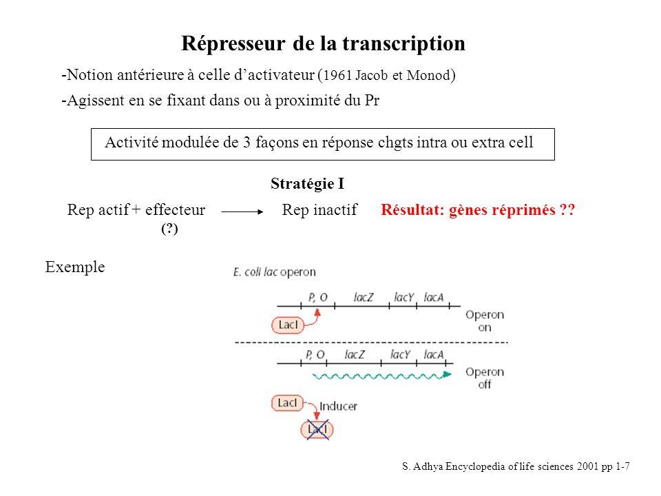 Répresseur de la transcription -Notion antérieure à celle dactivateur ( 1961 Jacob et Monod ) -Agissent en se fixant dans ou à proximité du Pr Activit