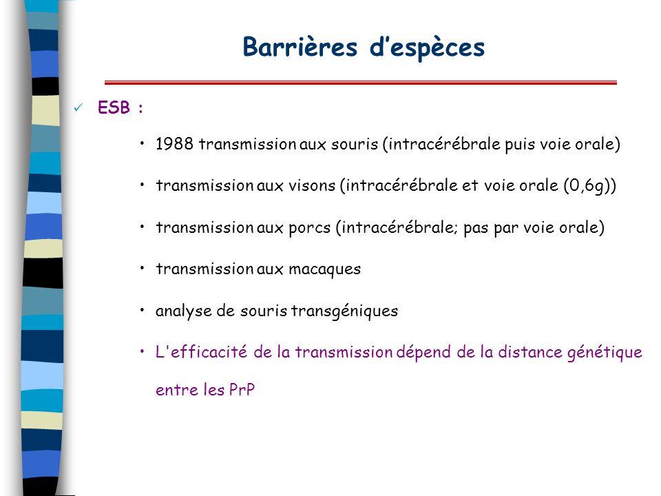 Barrières despèces ESB : 1988 transmission aux souris (intracérébrale puis voie orale) transmission aux visons (intracérébrale et voie orale (0,6g)) t