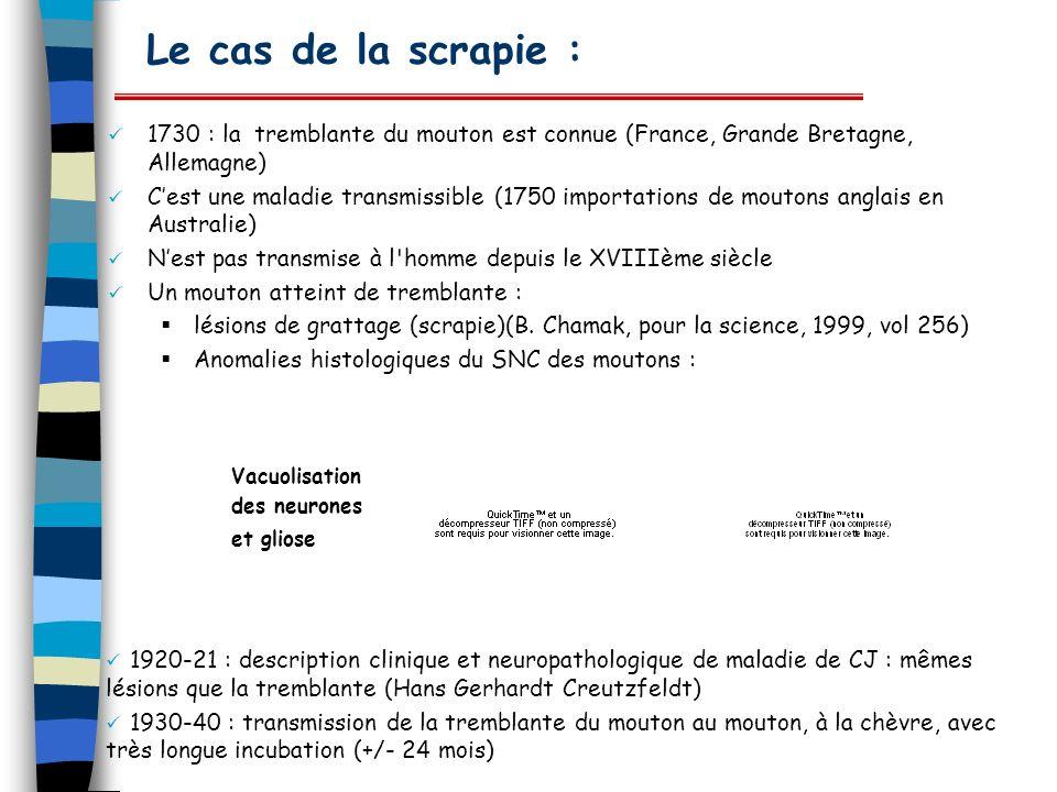 Le cas de la scrapie : 1730 : la tremblante du mouton est connue (France, Grande Bretagne, Allemagne) Cest une maladie transmissible (1750 importation