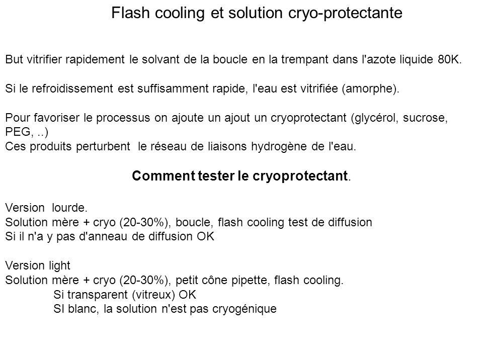 Flash cooling et solution cryo-protectante But vitrifier rapidement le solvant de la boucle en la trempant dans l'azote liquide 80K. Si le refroidisse