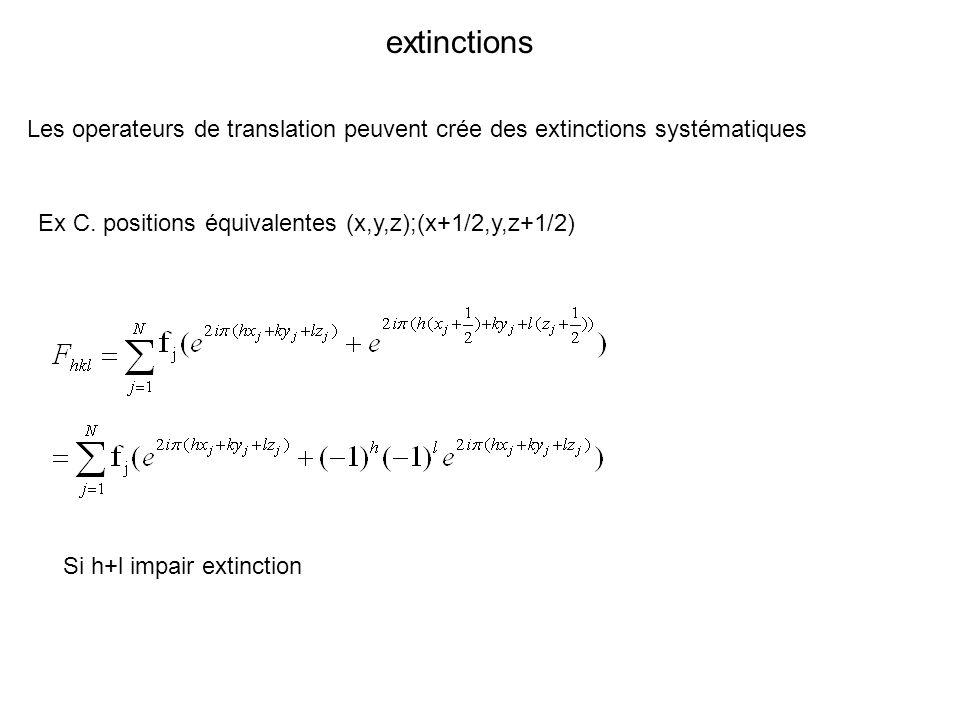 extinctions Les operateurs de translation peuvent crée des extinctions systématiques Ex C. positions équivalentes (x,y,z);(x+1/2,y,z+1/2) Si h+l impai