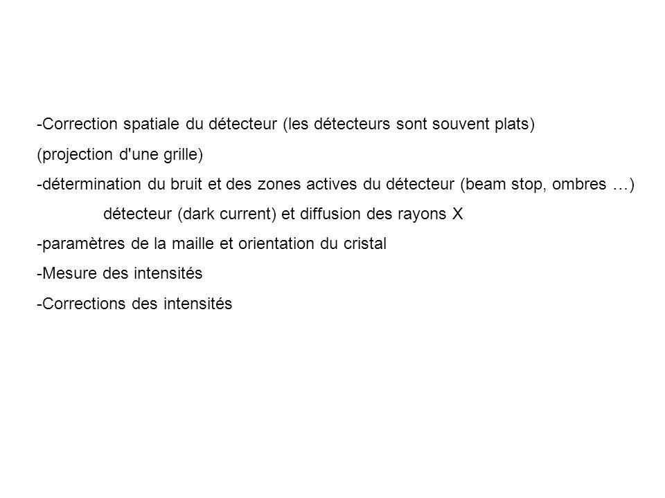 -Correction spatiale du détecteur (les détecteurs sont souvent plats) (projection d'une grille) -détermination du bruit et des zones actives du détect