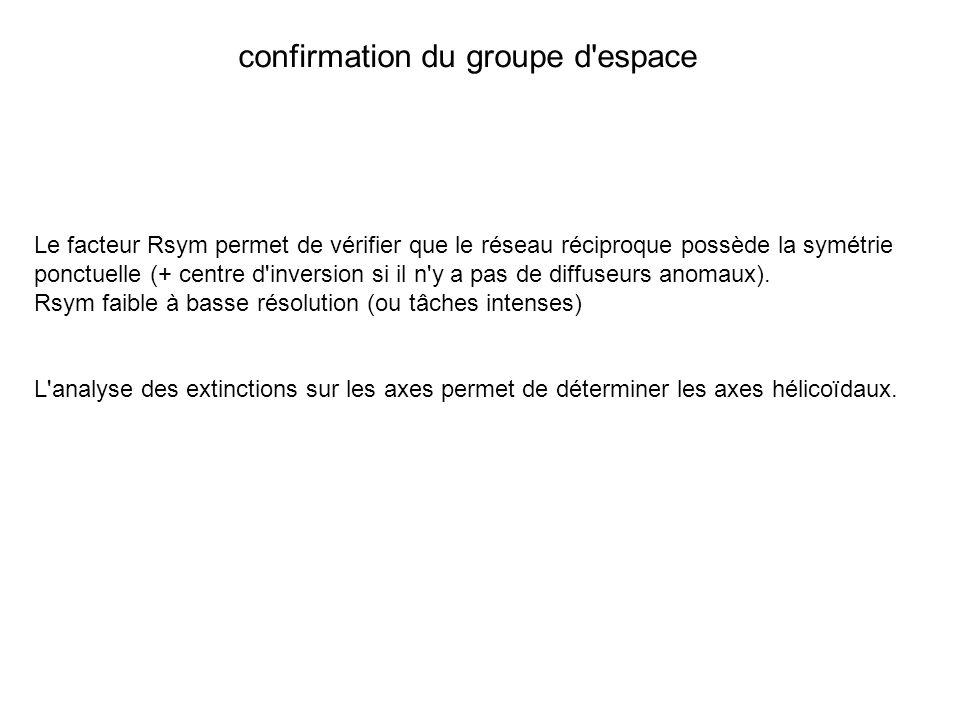 Le facteur Rsym permet de vérifier que le réseau réciproque possède la symétrie ponctuelle (+ centre d'inversion si il n'y a pas de diffuseurs anomaux