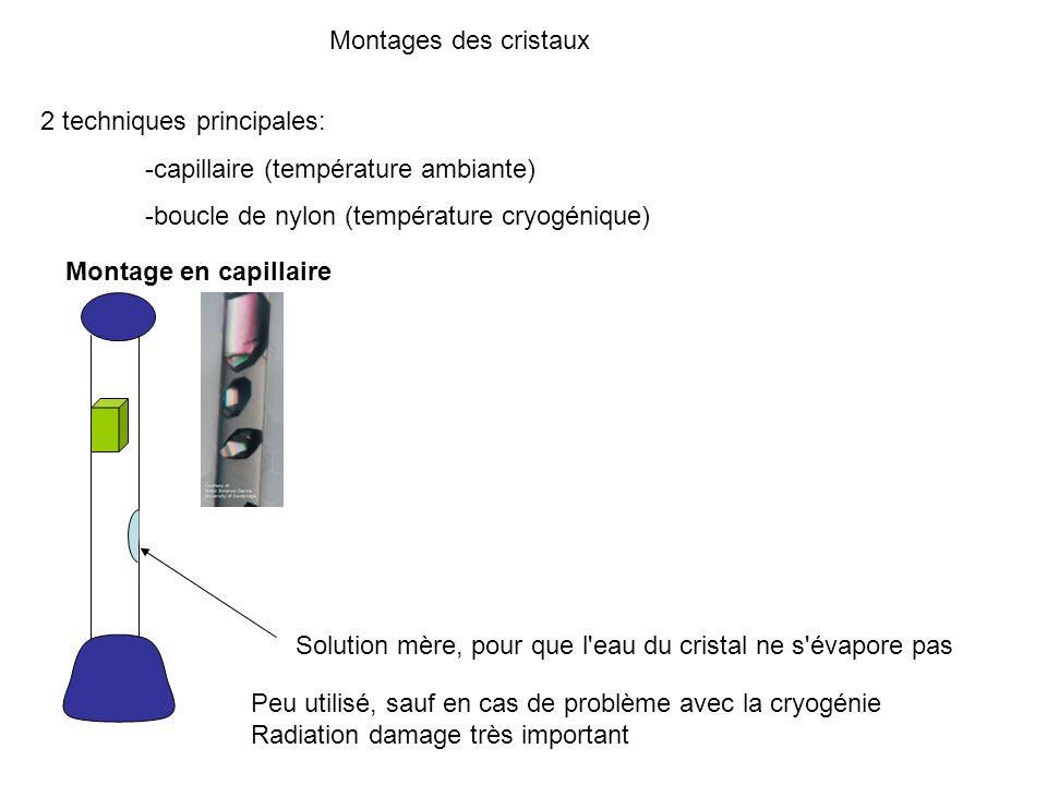Montages des cristaux 2 techniques principales: -capillaire (température ambiante) -boucle de nylon (température cryogénique) Montage en capillaire So