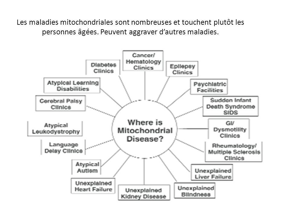 Les maladies mitochondriales sont nombreuses et touchent plutôt les personnes âgées. Peuvent aggraver dautres maladies.