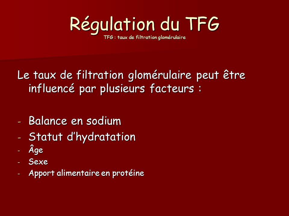 Régulation du TFG TFG : taux de filtration glomérulaire Le taux de filtration glomérulaire peut être influencé par plusieurs facteurs : - Balance en s