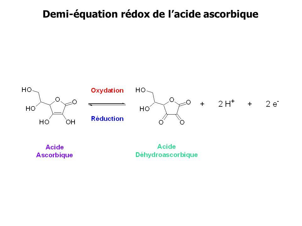 Demi-équation rédox de lacide ascorbique