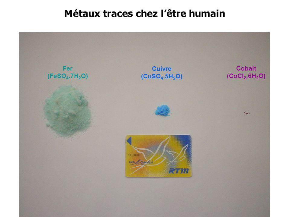Métaux traces chez lêtre humain Fer (FeSO 4.7H 2 O) Cuivre (CuSO 4.5H 2 O) Cobalt (CoCl 2.6H 2 O)