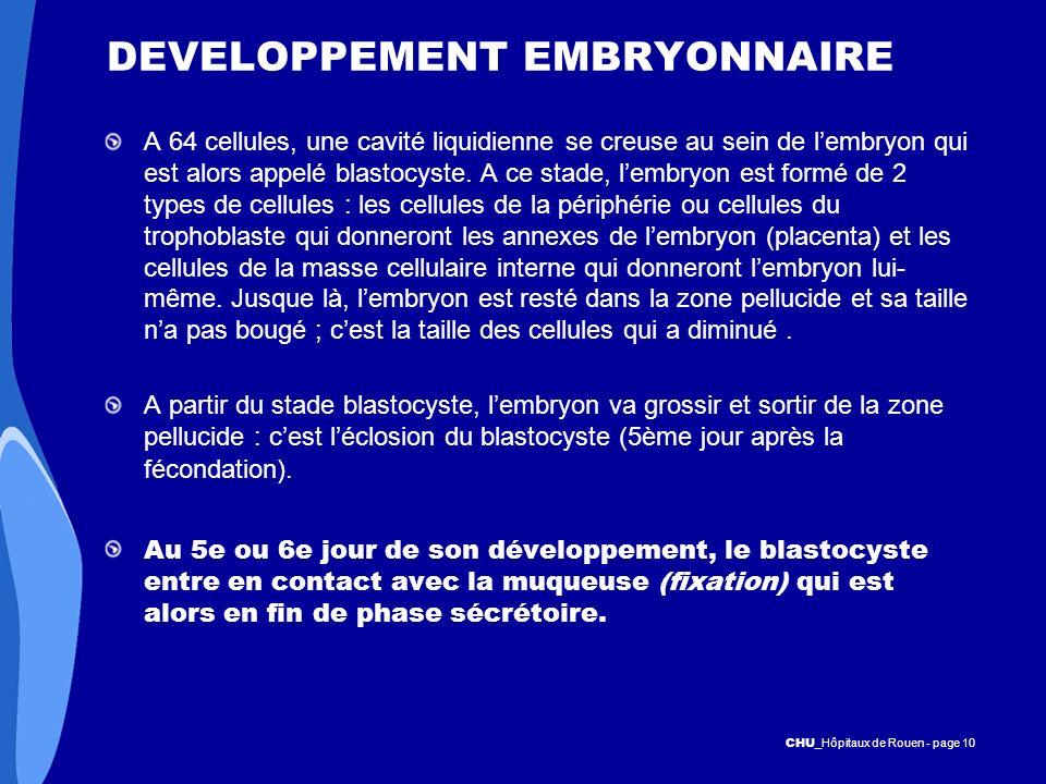 CHU _Hôpitaux de Rouen - page 10 DEVELOPPEMENT EMBRYONNAIRE A 64 cellules, une cavité liquidienne se creuse au sein de lembryon qui est alors appelé b
