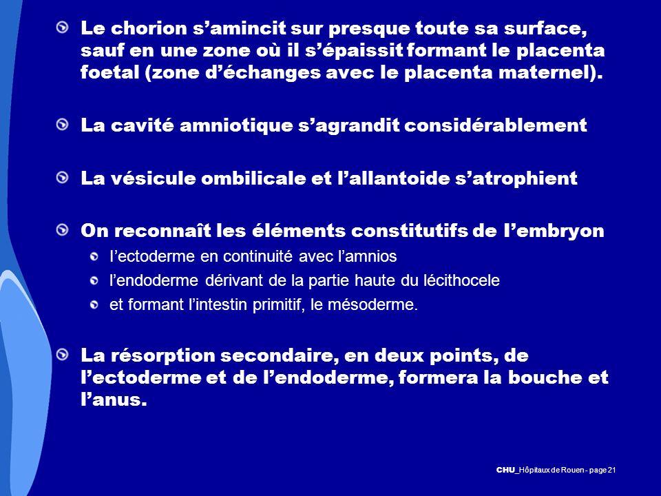 CHU _Hôpitaux de Rouen - page 21 Le chorion samincit sur presque toute sa surface, sauf en une zone où il sépaissit formant le placenta foetal (zone d