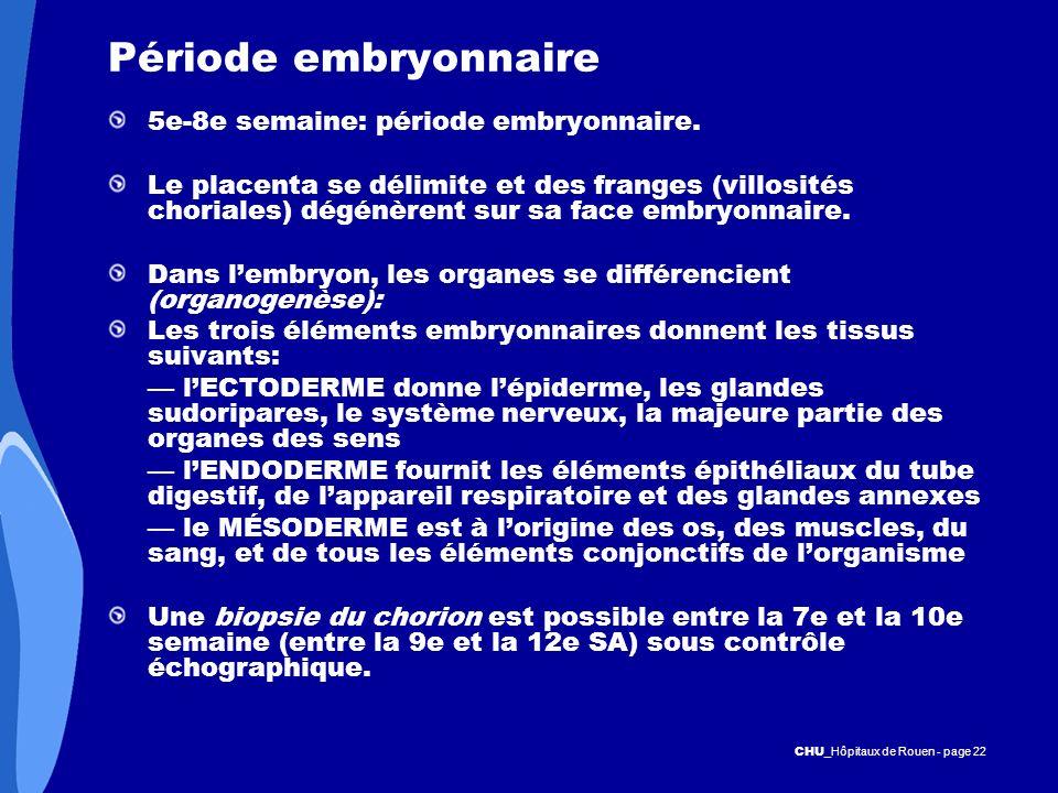 CHU _Hôpitaux de Rouen - page 22 Période embryonnaire 5e-8e semaine: période embryonnaire. Le placenta se délimite et des franges (villosités choriale