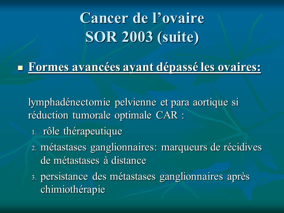 Cancer de lovaire SOR 2003 (suite) Formes avancées ayant dépassé les ovaires: Formes avancées ayant dépassé les ovaires: lymphadénectomie pelvienne et